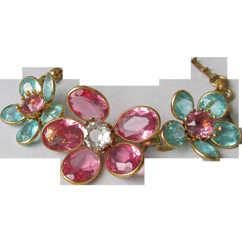 Exquisite 1940's Vintage Aqua & Pink Crystal Flower Collet Set Bracelet