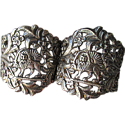 DRASTIC REDUCTION - Antique Victorian Sterling Silver GRIFFIN & Flowers Tie Backs Drapery Curtain Hardware