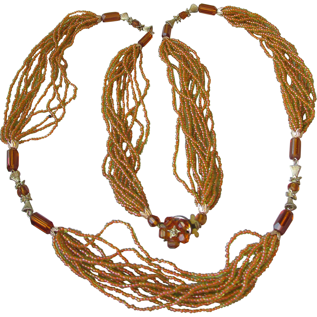 Vintage 1920's Multi Strand Amber Crystal Glass Seed Bead Long Flapper Necklace