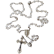 Vintage Sterling Silver & Crystal Rosary