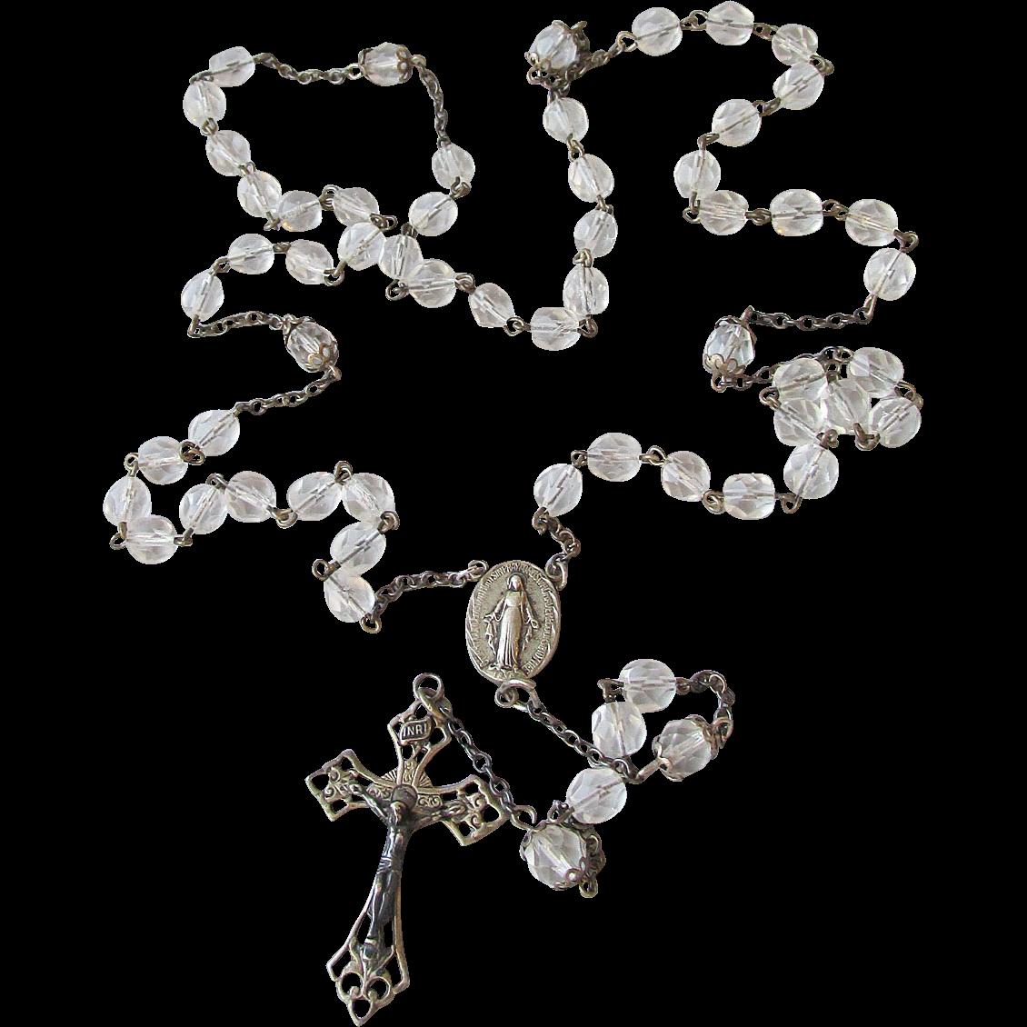 Vintage Sterling Silver & Crystal Rosary