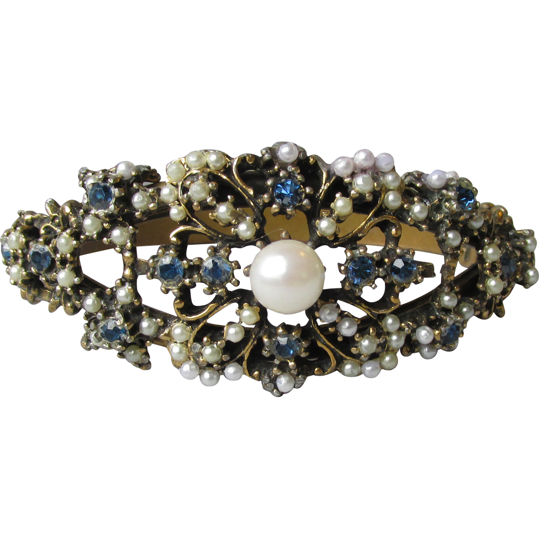 Vintage 1950's Sapphire Blue Rhinestone & Faux Pearl Clamper Bracelet