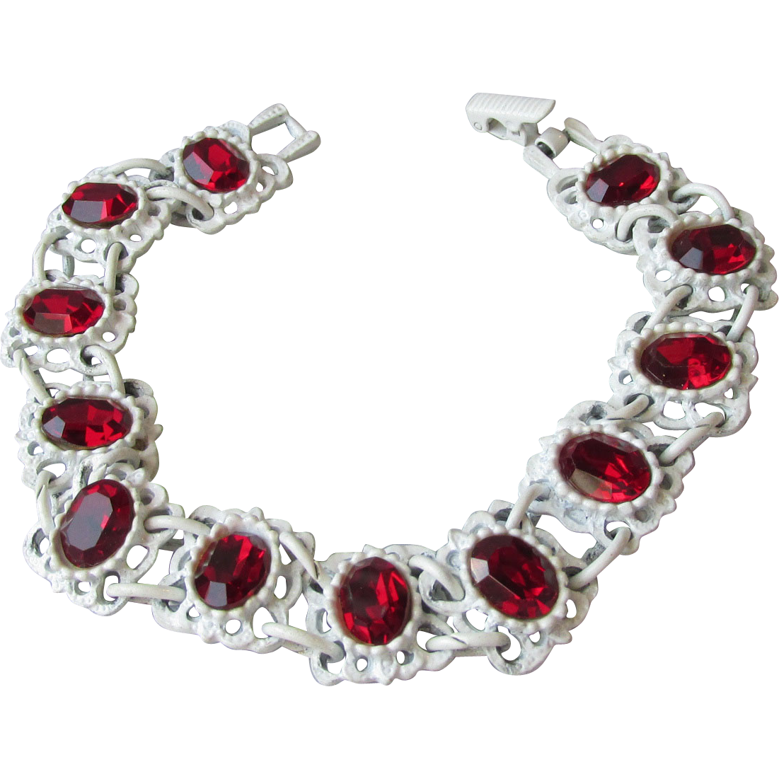 Gorgeous! 1960's Vintage White Enamel Covered Japanned Blood Red Rhinestone Bracelet
