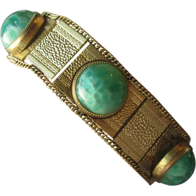 1920's Vintage Art Deco Egyptian Revival Peking Glass Faux Jade Gilt Brass Bracelet