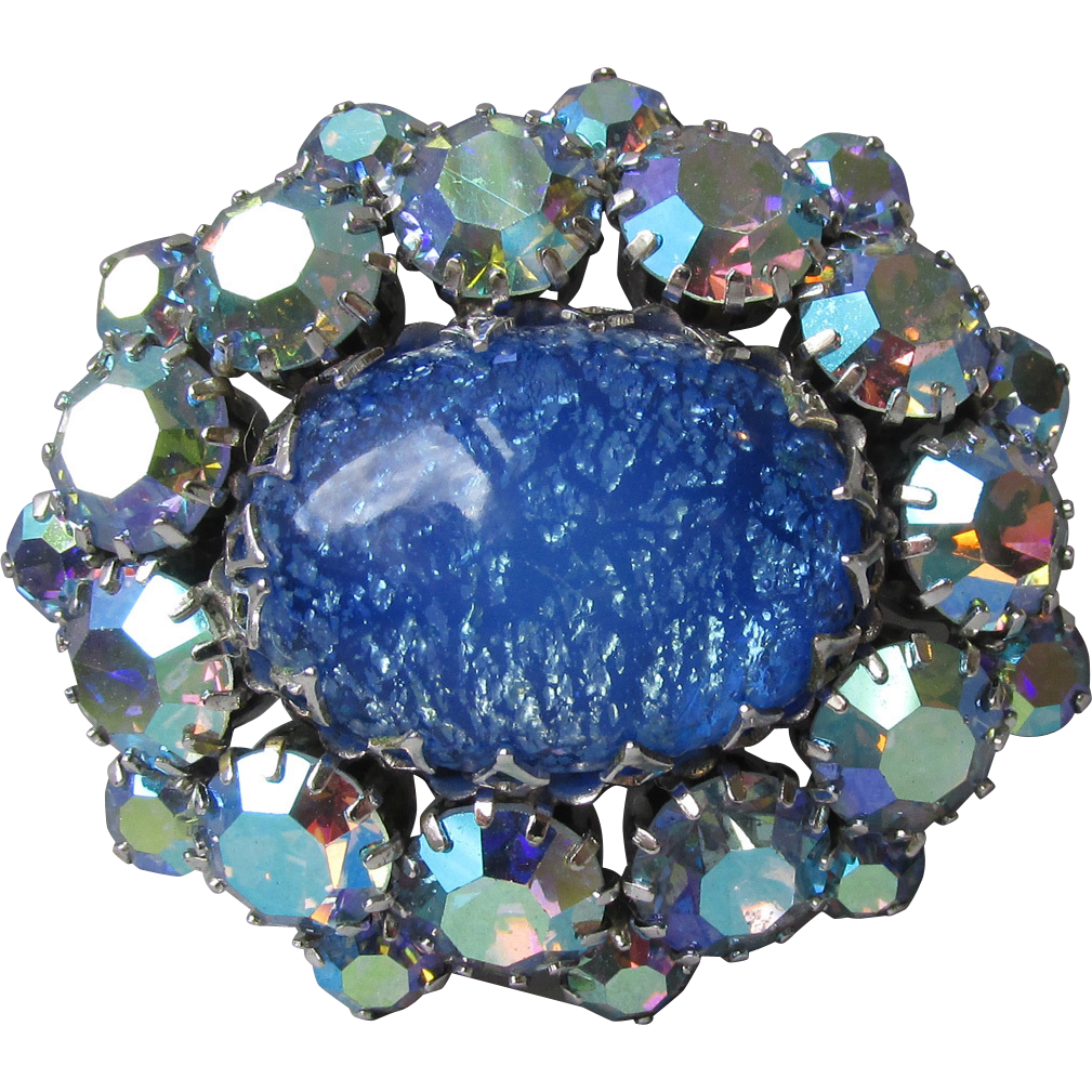 Outstanding Vintage Unsigned SCHREINER Blue Foil Glass Cabochon & AB Rhinestone Pin