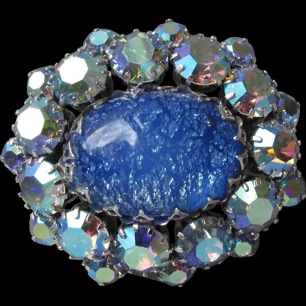 Vintage Unsigned SCHREINER Blue Foil Glass Cabochon & Aurora Borealis Rhinestone Pin