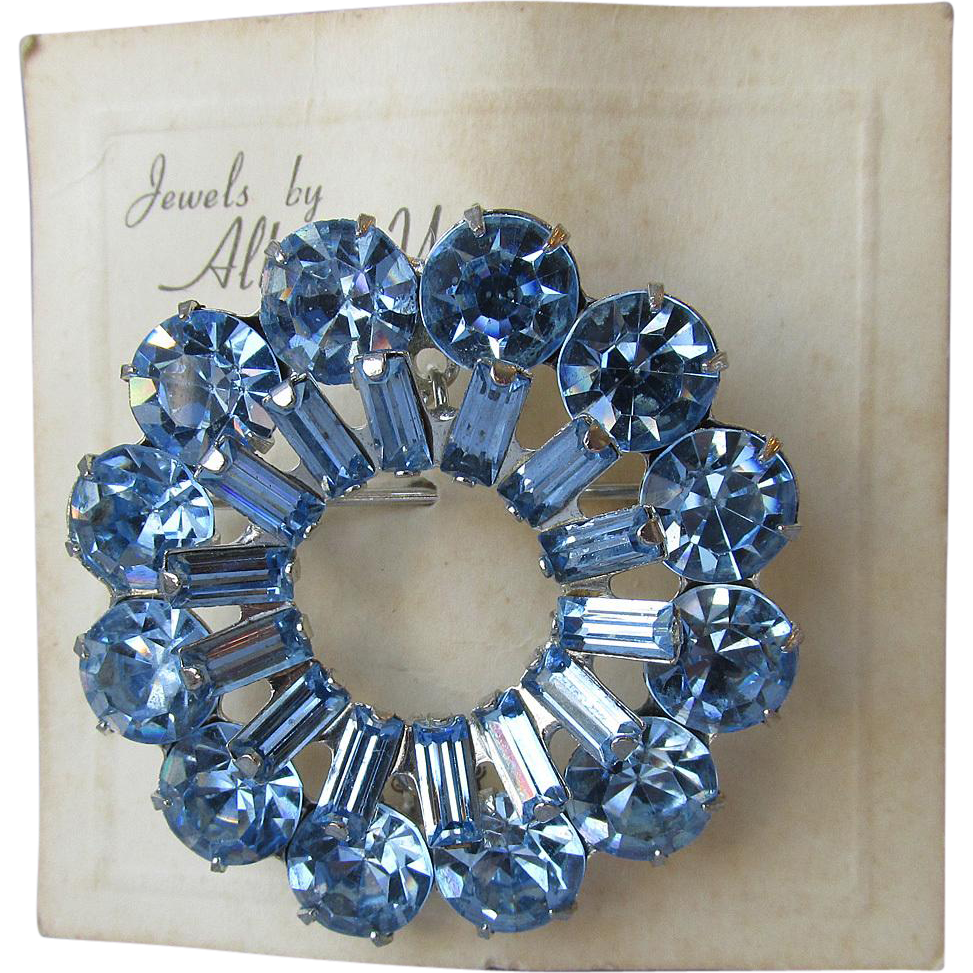 Vintage Authentic Signed WEISS Blue Rhinestone Pin, Old Store Stock