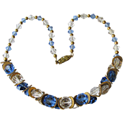 Vintage Art Deco 1920's Blue Swarovski Aspirin Crystal Bead Flapper Chain Strung Choker Necklace