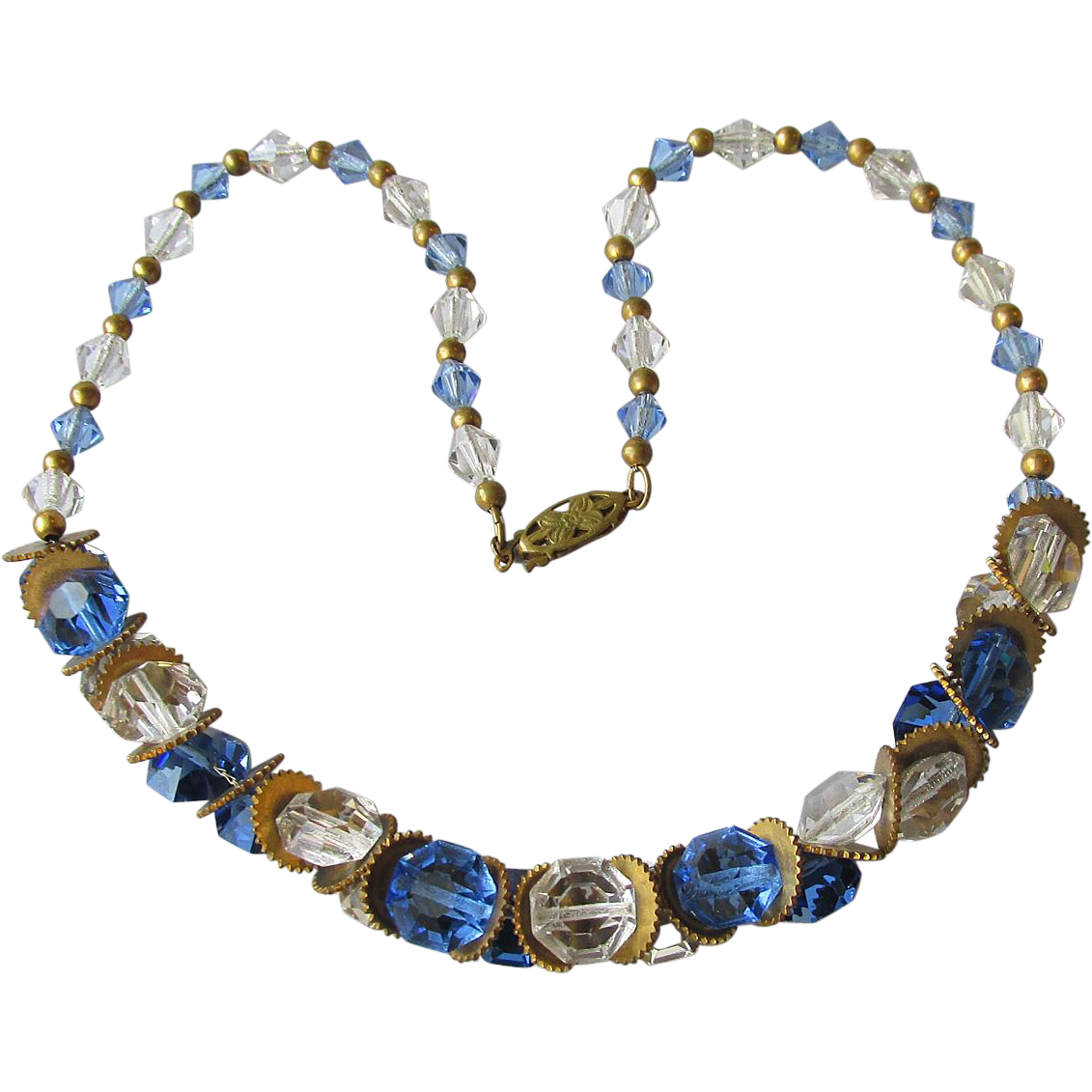Gorgeous Blue & Clear Crystal 1920's Vintage Flapper Necklace
