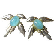 Art Deco Vintage Sterling Silver Blue Bird Earrings