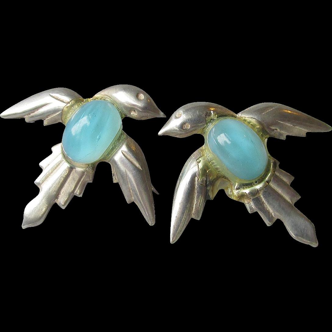 1930's Art Deco Vintage Sterling Silver Blue Bird Jelly Belly Earrings