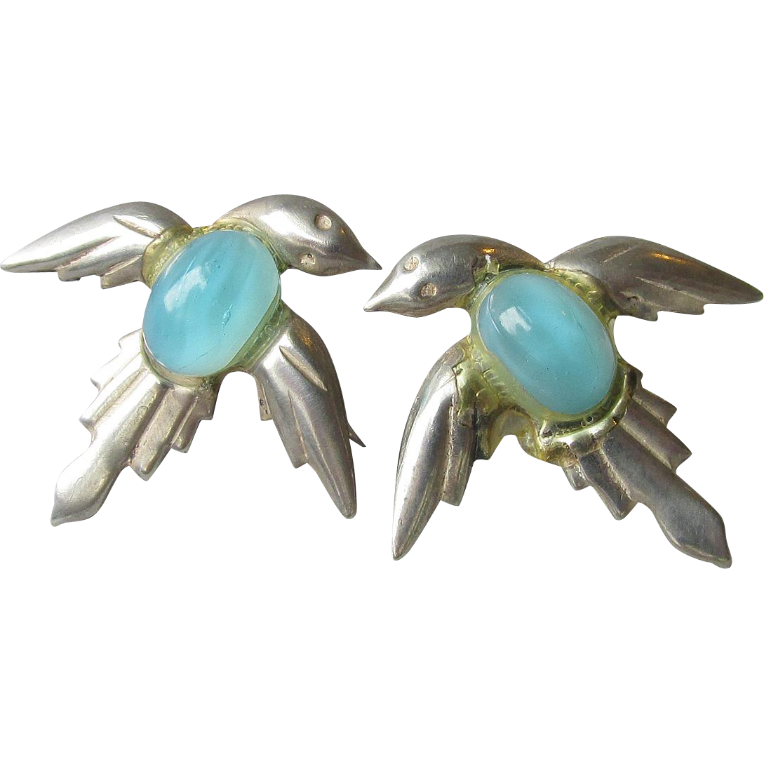 1930's Art Deco Vintage Sterling Silver BlueBird Jelly Belly Cabochon Earrings