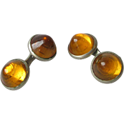 Antique Edwardian Faux Amber Glass Cuff Links Vintage Cufflinks