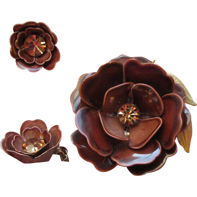 LISNER 1960's MOD Brown Enamel & Rhinestone Flower & Earrings Set