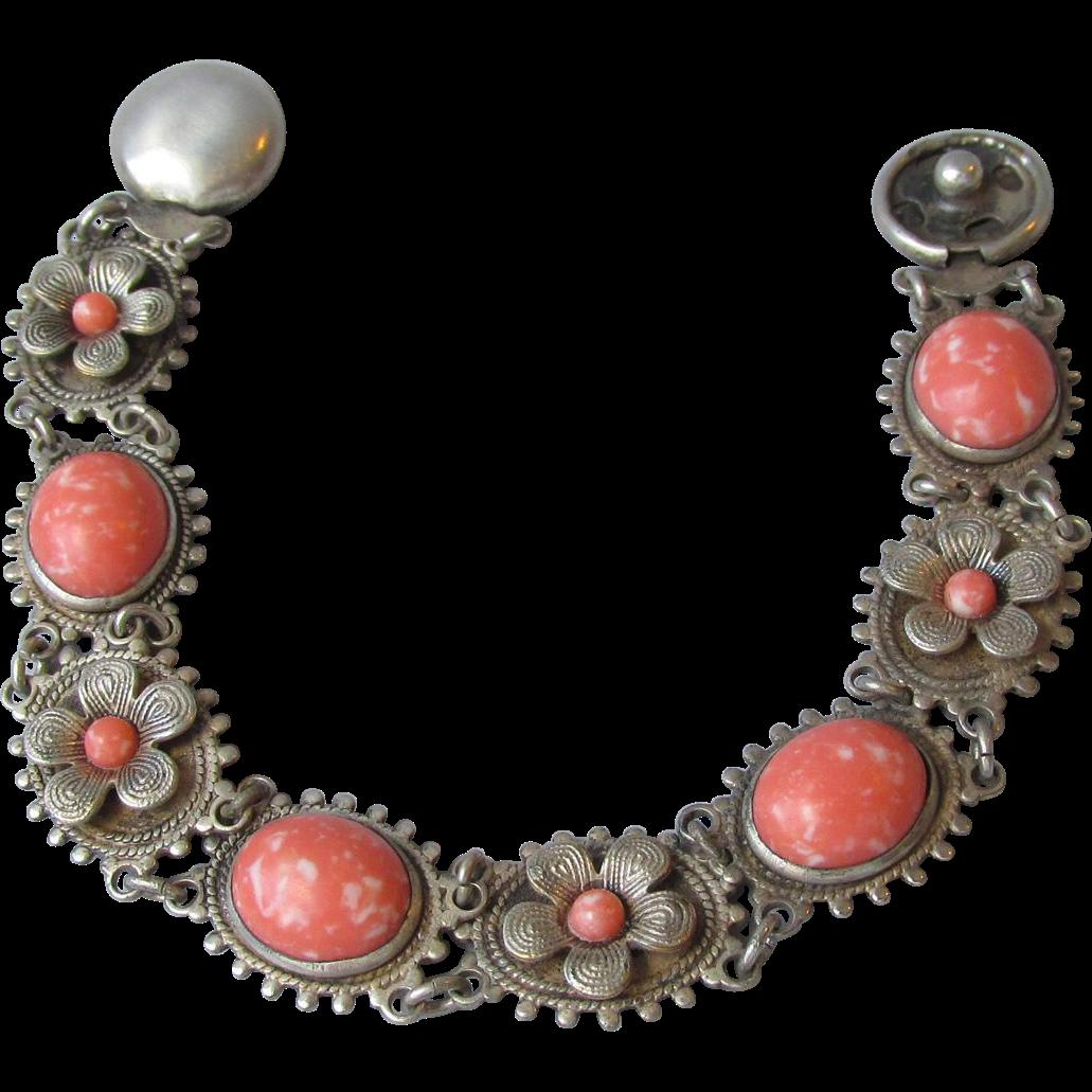 1920's Vintage Faux Coral Flower Link Bracelet