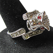 Vintage Sterling Silver & Rhinestone PANTHER Cat Ring, Size 8