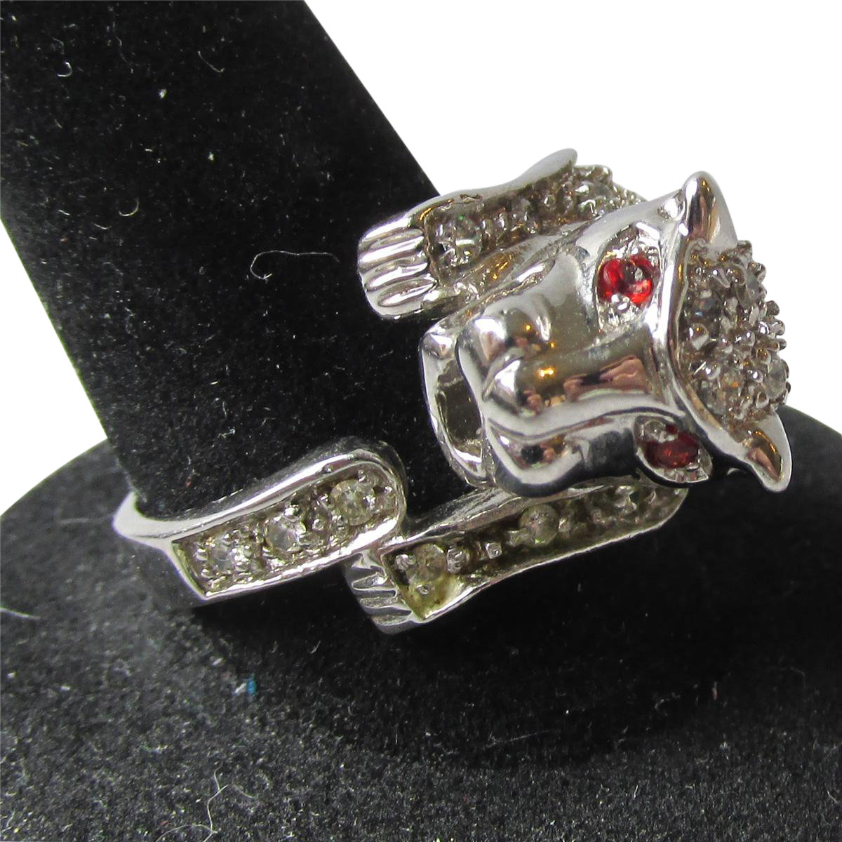 Vintage Sterling Silver & Rhinestone PANTHER Lion Cat Ring, Size 8