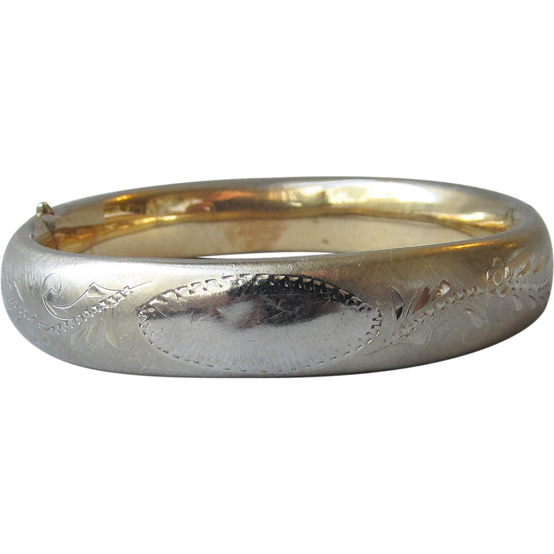 Antique Edwardian Pale 12k Yellow Gold Filled Etched Vintage Bangle Bracelet