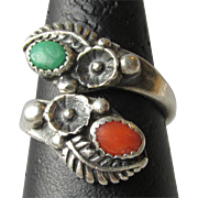 Vintage Native American Navajo Sterling Silver, Turquoise & Coral Ring, Adjustable Size 7-10