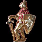 Coro Craft Sterling Silver Vermeil Figural KNIGHT Fur Dress Clip Pin