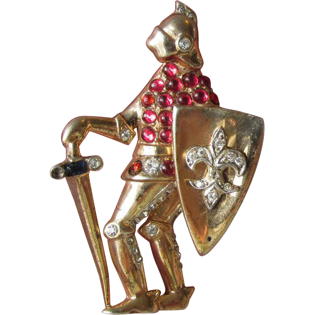 Coro Craft Sterling Silver Vermeil Figural KNIGHT Fur Dress Clip Pin