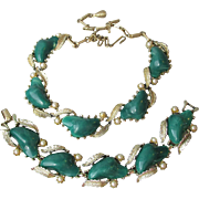 Big Chunky CORO Emerald Green Thermoset Necklace & Bracelet Set, Vintage Demi Parure