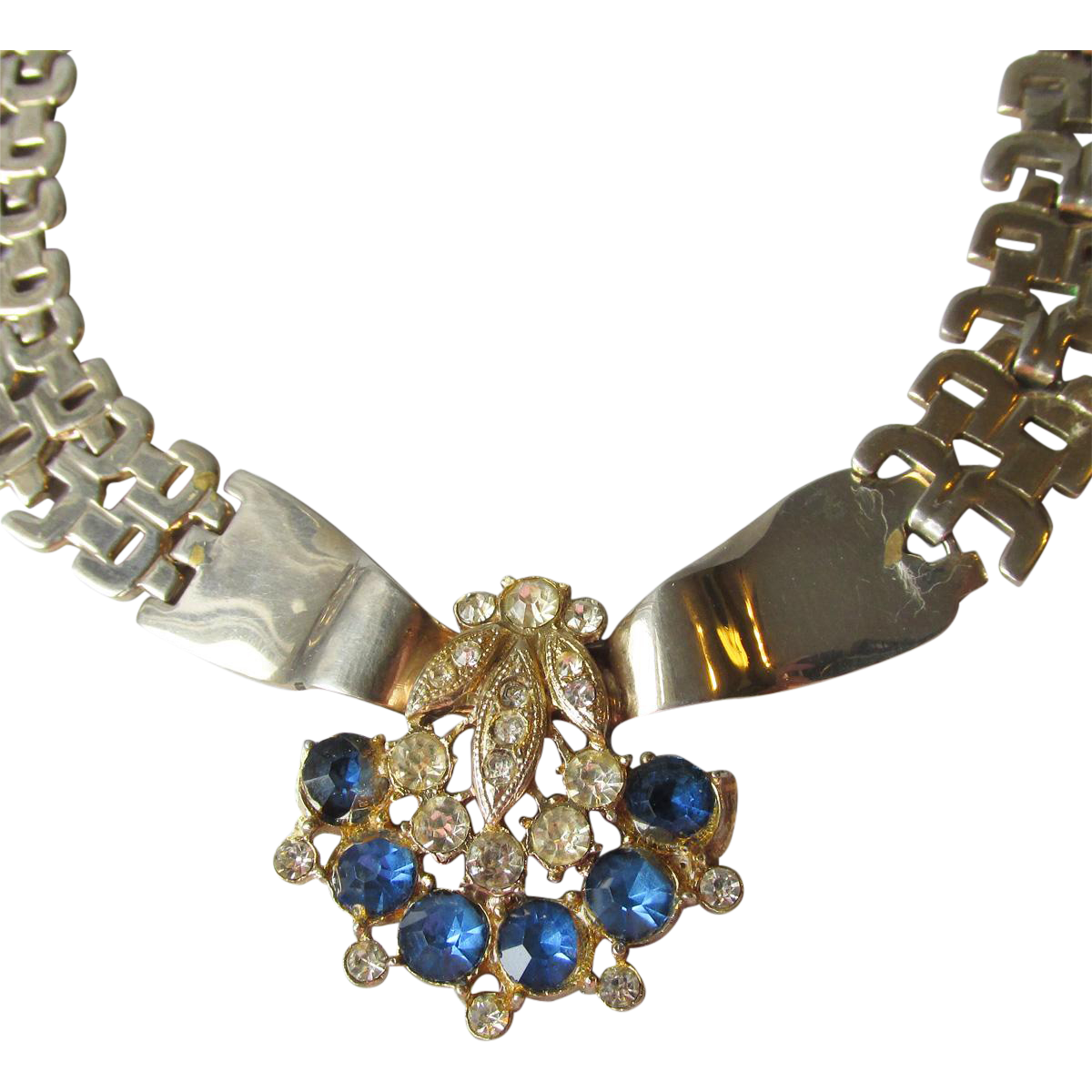 1940's Vintage Blue Rhinestone & Heavy Chain Choker Necklace