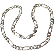 """Vintage Heavy 18"""" Unisex Sterling Silver Textured Figaro Chain Necklace, 7mm 29 Grams"""