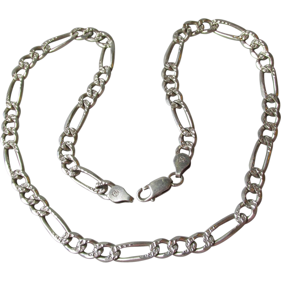 """Vintage Heavy 18"""" Unisex Men's Sterling Silver Textured Figaro Chain Necklace, 7mm 29 Grams"""