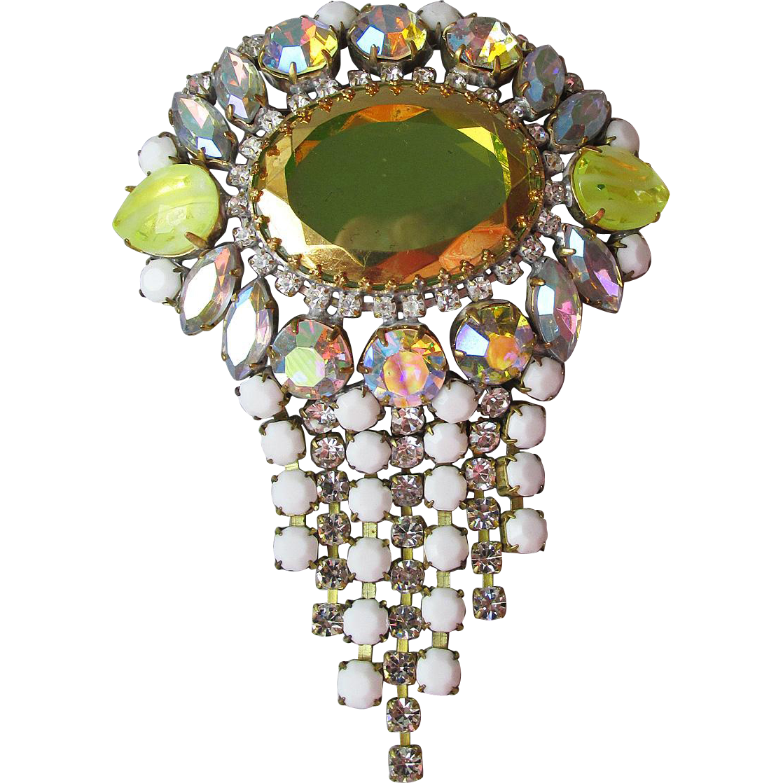 "Vintage 1960's HUGE 4 1/2"" Long Yellow Mirror Glass & Dangling Aurora Borealis Rhinestone Pin"