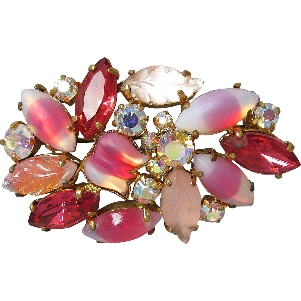 Unusual High-Quality Vintage Givre, Flower & Leaf Shaped Molded Pink & Aurora Borealis Rhinestone Pin