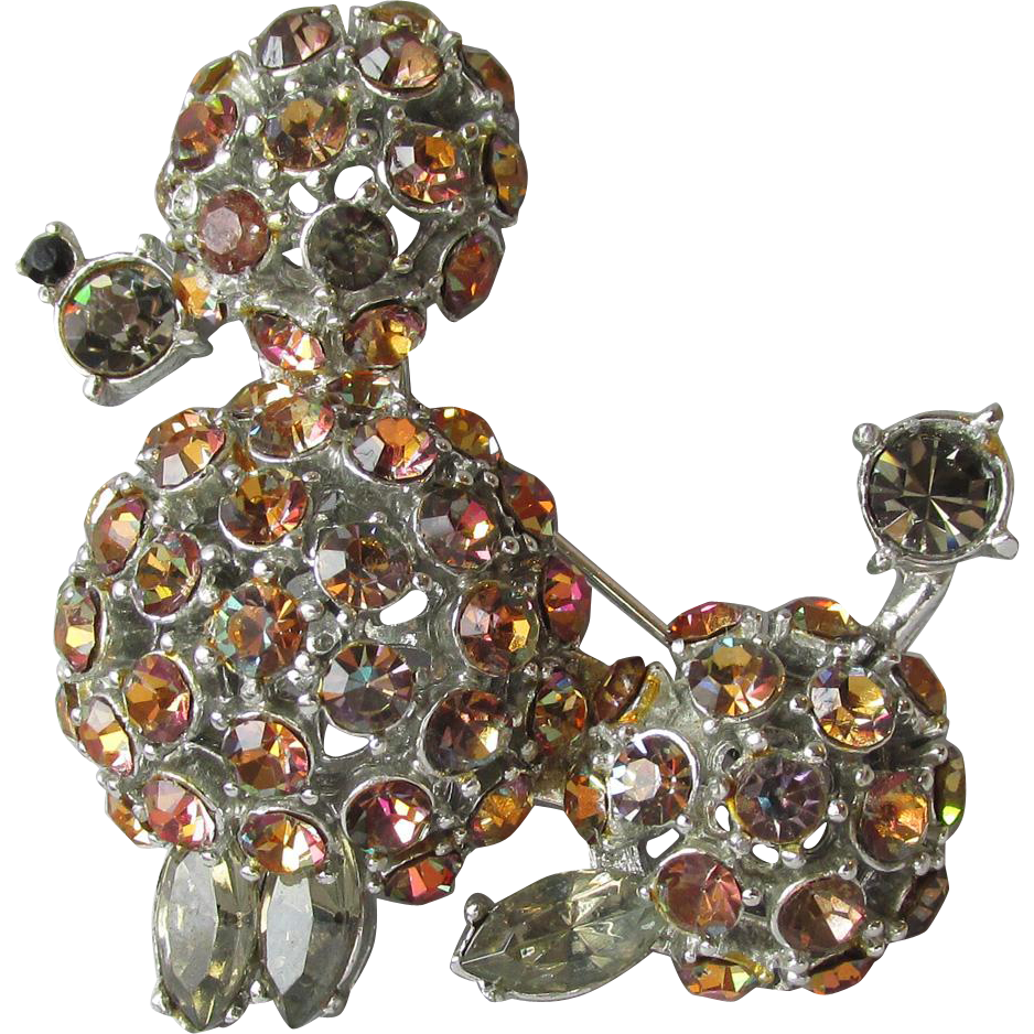Vintage 1960's Signed Capri Root Beer Rhinestone Poodle Dog Pin