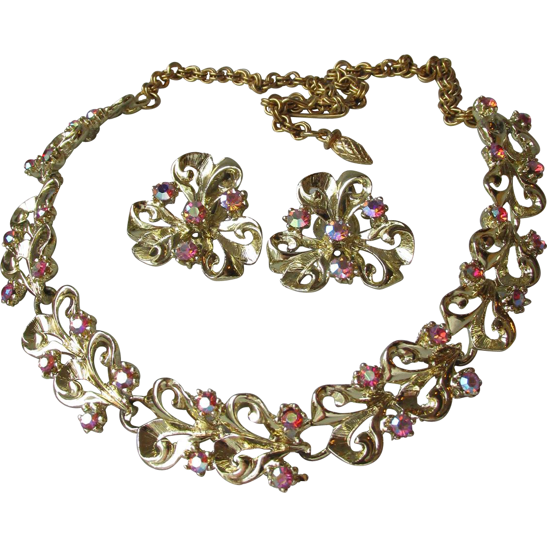 1950's Vintage Dark Pink Aurora Borelais Rhinestone Necklace & Earrings Set