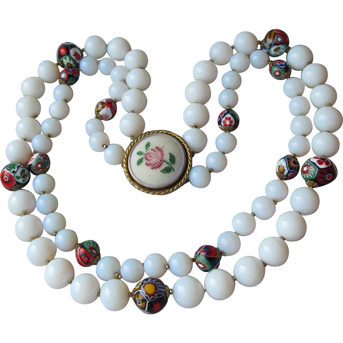 Signed Original By ROBERT Vintage Double Strand Opaline & Millefiori Glass Bead Necklace