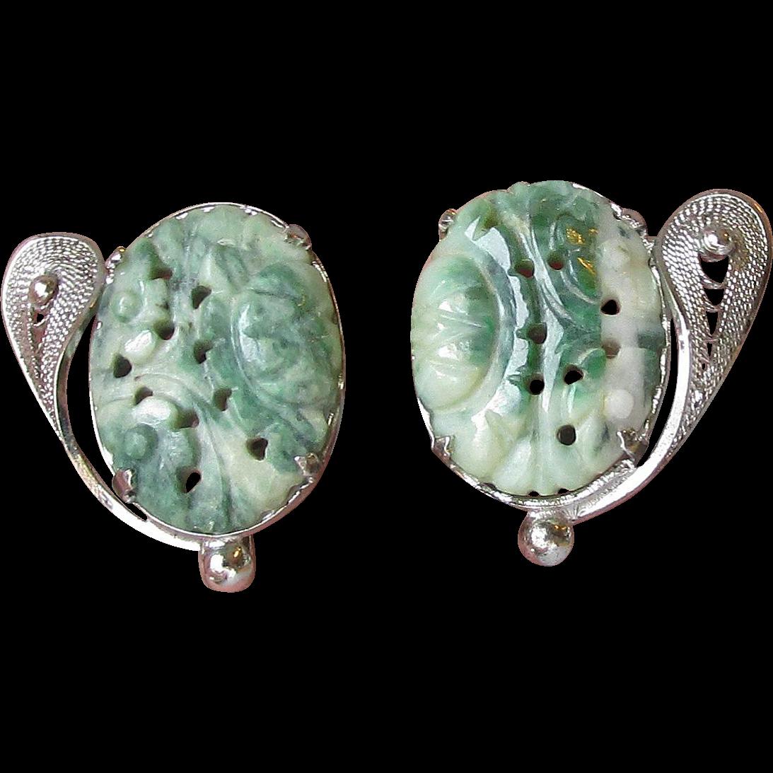 1930's Sterling Silver Filigree & Carved Genuine Jade Vintage Earrings