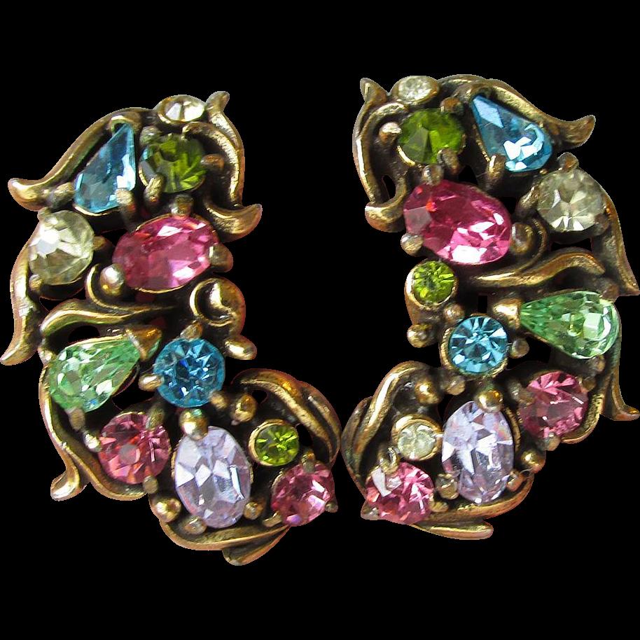 Signed Hollycraft 1950 Pastel Rhinestone Vintage Clip-Back Earrings