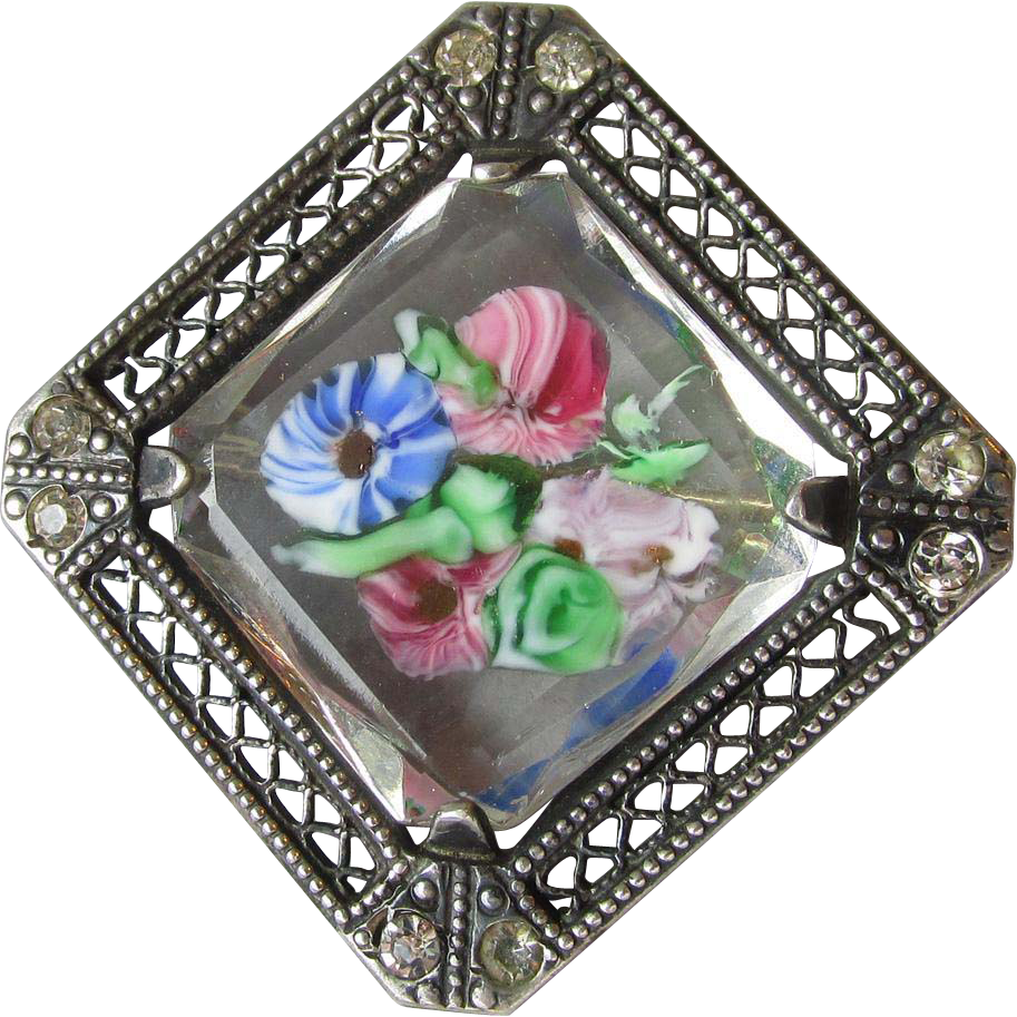 Exquisite Antique Venetian Murrina Art Glass Sterling Silver Filigree Pin