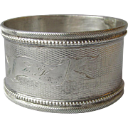 Antique Victorian Sterling Silver Napkin Ring, Engraved E.F.