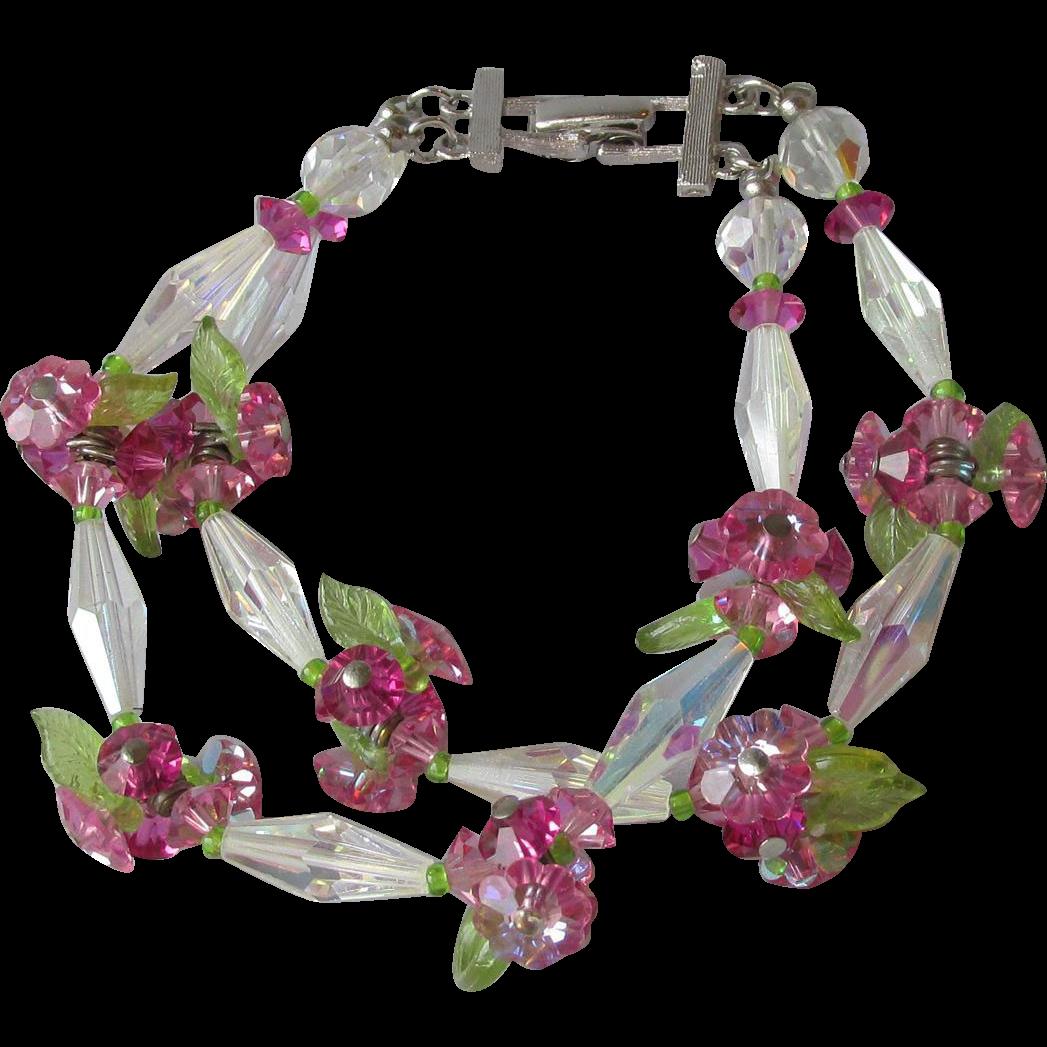 Vintage Pink Margarita Flower Cluster Crystal 2-Strand Bracelet
