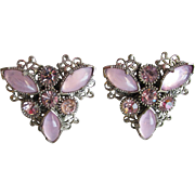 Vintage SELRO Signed Lavender Rhinestone Filigree Earrings