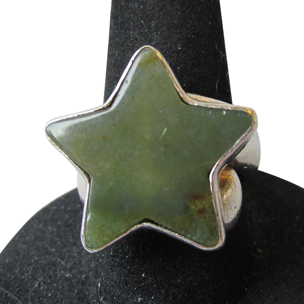 Vintage Charles Albert Sterling Silver Big STAR Green Agate Ring, Size 6
