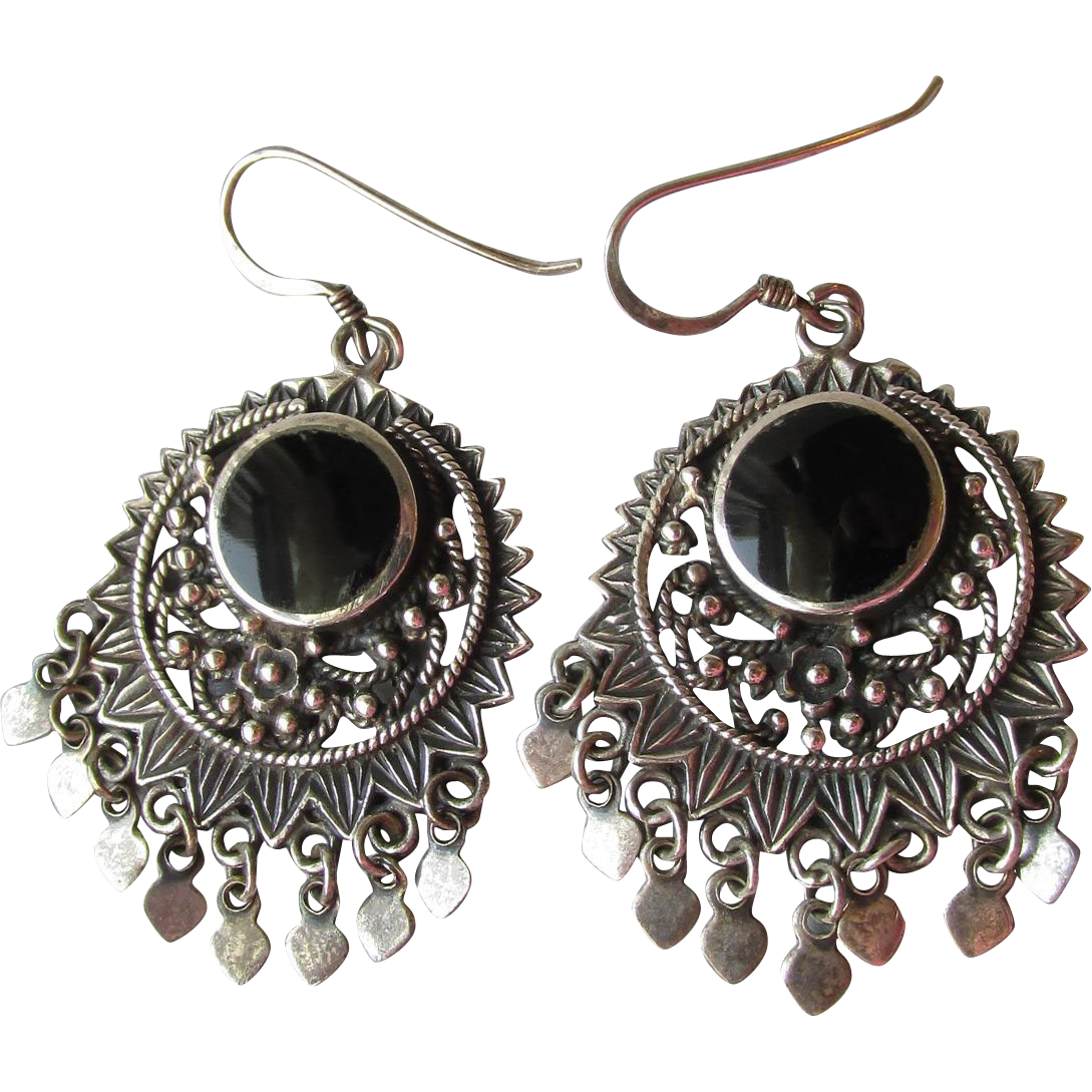 Vintage Balinese Sterling Silver Dangle & Onyx BIG Boho Pierced Earrings