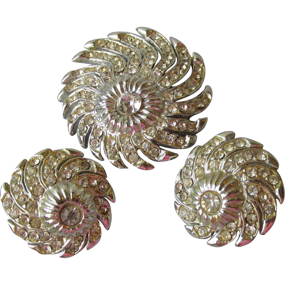 Retro 1940's Rhinestone Rhodium Swirl Vintage Pin & Earrings Set