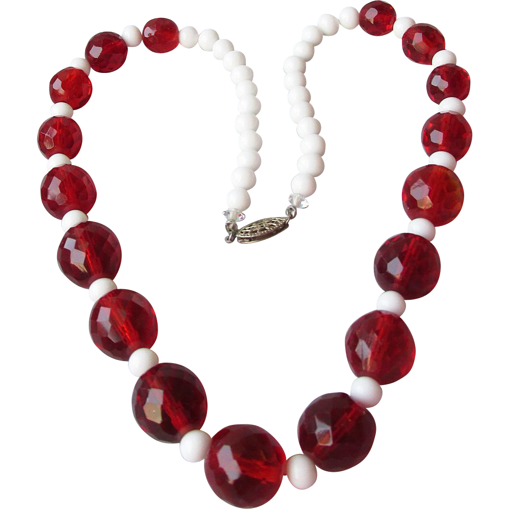 Faux Cherry Amber Czech Glass Bead Necklace