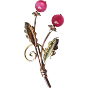 1940's VAN DELL Gold Filled Sterling Silver & Pink Moon Glow Flower Pin