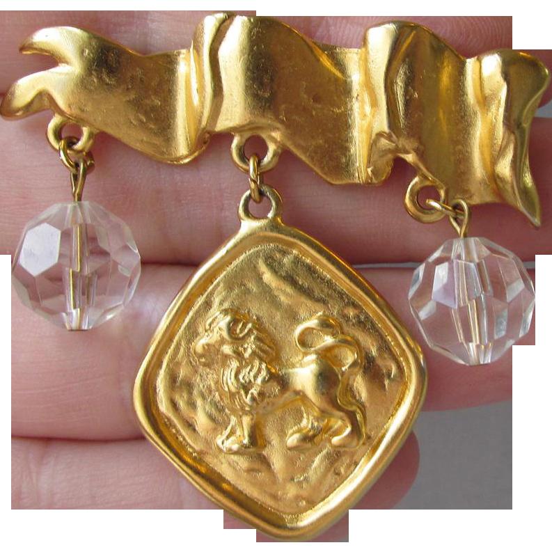 Vintage Liz Claiborne Dangling Crystals & Lion Coin Pin