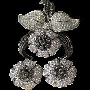 Vintage Nolan Miller Black Orchid Pave Rhinestone Pin & Earrings Set