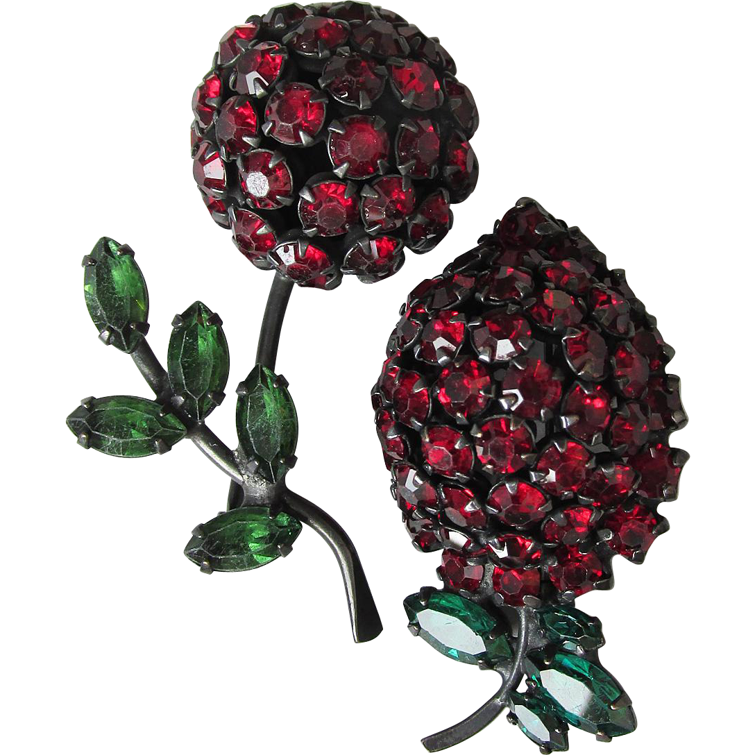 Pair of Warner Vintage 1960's Japanned Black Enamel & Red Rhinestone Fruit Pins