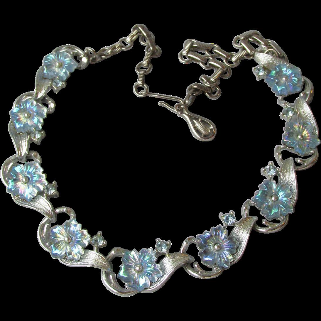 Gorgeous! Vintage Signed CORO Blue Aurora Borealis Molded FLOWER Rhinestones Necklace