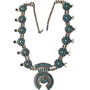 Spectacular Vintage ZUNI Needle Point Sterling Silver & Turquoise Squash Blossom Necklace
